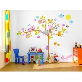 Mint Kitten Samolepka na zeď Květinový strom se zvířátky, 1,5 m