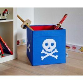 STORE !T Úložný box Pirátská lebka, 38x32x32 cm - modrý