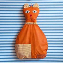 Bartex Design Závěsný kapsář Kočička - oranžový