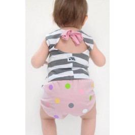 Lamama Kalhotky na plenu puntíkované  0-6 měsíců - světle růžové