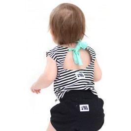 Lamama Dívčí pruhovaný top na zavazování - černo-bílý