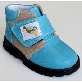První krůčky Chlapecké kožené celoroční boty Kos - světle modrá/světle hnědá