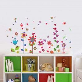 Walplus Samolepka na zeď Barevné kytičky s motýlky, 132x75 cm