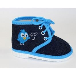První krůčky Chlapecké kotníkové bačkůrky s ptáčkem - modré