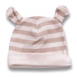 Lafel Dětská proužkovaná čepice Medvídek - bílo-hnědá