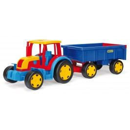 WADER Traktor Gigant s vlekem plast 102 cm - červený s modrým vlekem