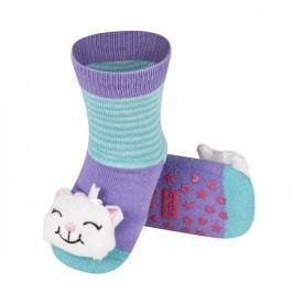 SOXO® Dívčí protiskluzové ponožky s kočičkou - fialové