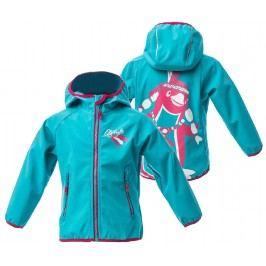 O'Style Dívčí softshellová bunda s tučňákem - modrorůžová