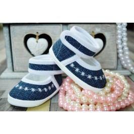 Lola Baby Dívčí capáčky s výšivkou - bílo-modré