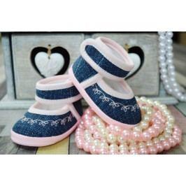 Lola Baby Dívčí capáčky s výšivkou - růžovo-modré