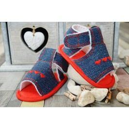 Lola Baby Dívčí sandálky se srdíčky - modro-červené