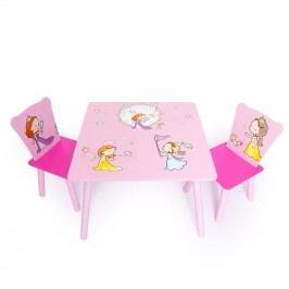 Homestyle4U Dětský stůl s židlemi Princezny