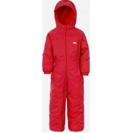 Trespass Dívčí nepromokavý overal s fleecem Dripdrop - červený