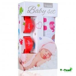 T-tomi Baby set - bambusová osuška růžoví sloni + kočárkový kolíček červený