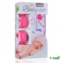 T-tomi Baby set - bambusová osuška srdíčka+ kočárkový kolíček růžový