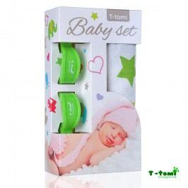 T-tomi Baby set - bambusová osuška zelené hvězdičky + kočárkový kolíček zelený