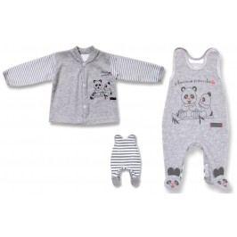 Lafel Dětský set kabátku a dupaček Panda - šedý