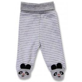Lafel Dětské proužkované polodupačky Panda s výšivkou - šedé