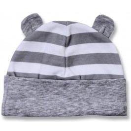 Lafel Dětská proužkovaná čepice Panda s ouškama - šedá