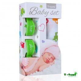 T-tomi Baby set - bambusová osuška auta + kočárkový kolíček zelený
