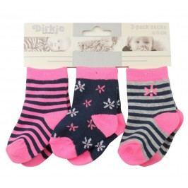 Dirkje Dívčí proužkované ponožky, 3páry - růžové