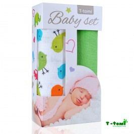 T-tomi Baby set - bambusová osuška ptáčci + bambusová osuška zelená