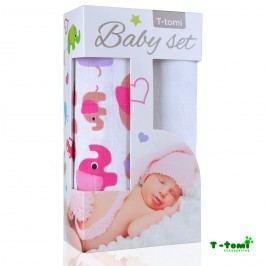 T-tomi Baby set - bambusová osuška růžoví sloni + bambusová osuška bílá