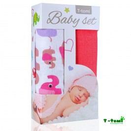 T-tomi Baby set - bambusová osuška růžoví sloni + bambusová osuška růžová