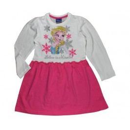 E plus M Dívčí šaty Frozen - bílo-růžové