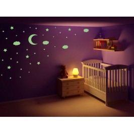 Housedecor Velká svítící samolepka na zeď Hvězdy, měsíc a mráčky