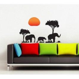 Walplus Samolepka na zeď Slunce a sloni, 70x50 cm