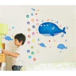 Walplus Samolepka na zeď Metr s velrybou, 134x108 cm