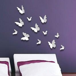 Walplus 3D samolepky na zeď Bílý motýlci, 12 ks