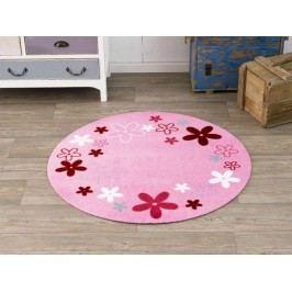 Hanse Home Dětský kulatý koberec Kytičky, 100 cm - růžový