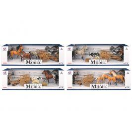 Alltoys EP Line Series Model Svět zvířat sada s figurkou trakařem a koňmi tmavě hnědý kůň s jehnětem