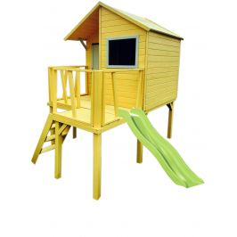 Alltoys Trigano Domek dřevěný Maisonnettes Viktor na chůdách s klouzačkou