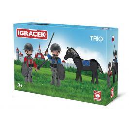 Igráček IGRÁČEK TRIO - 2 rytíři a černý kůň